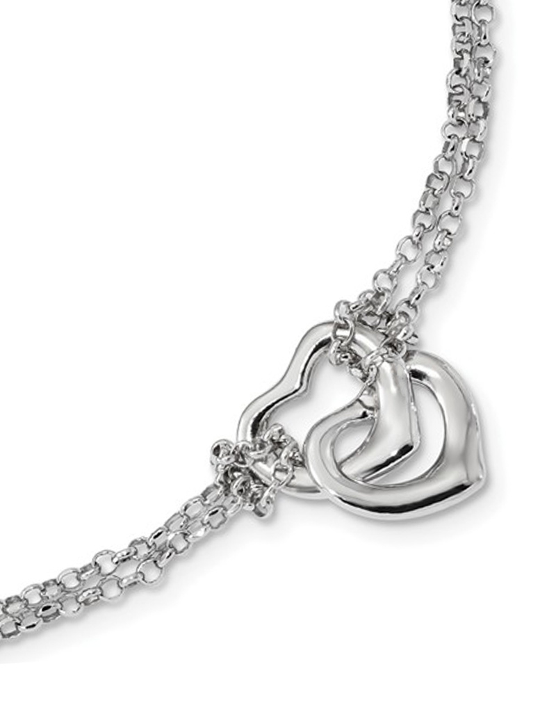 """Double Heart Bracelet 7""""+1"""""""