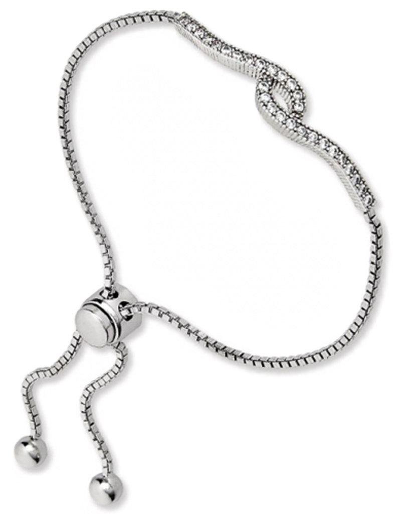Sterling Silver CZ Swirl Bolo Bracelet
