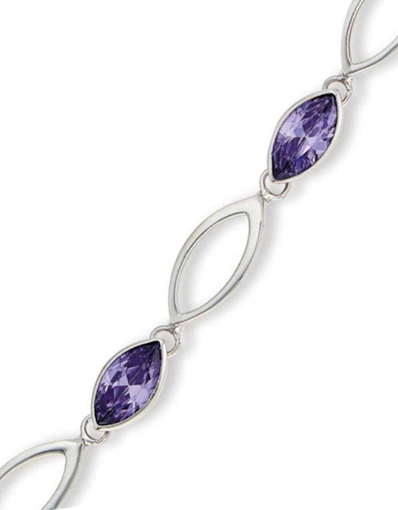"""Marquise Purple CZ Bracelet 7""""+1"""""""