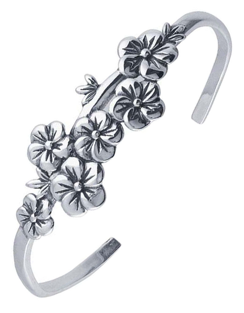 Women's Sterling Silver Floral Cuff Bracelet