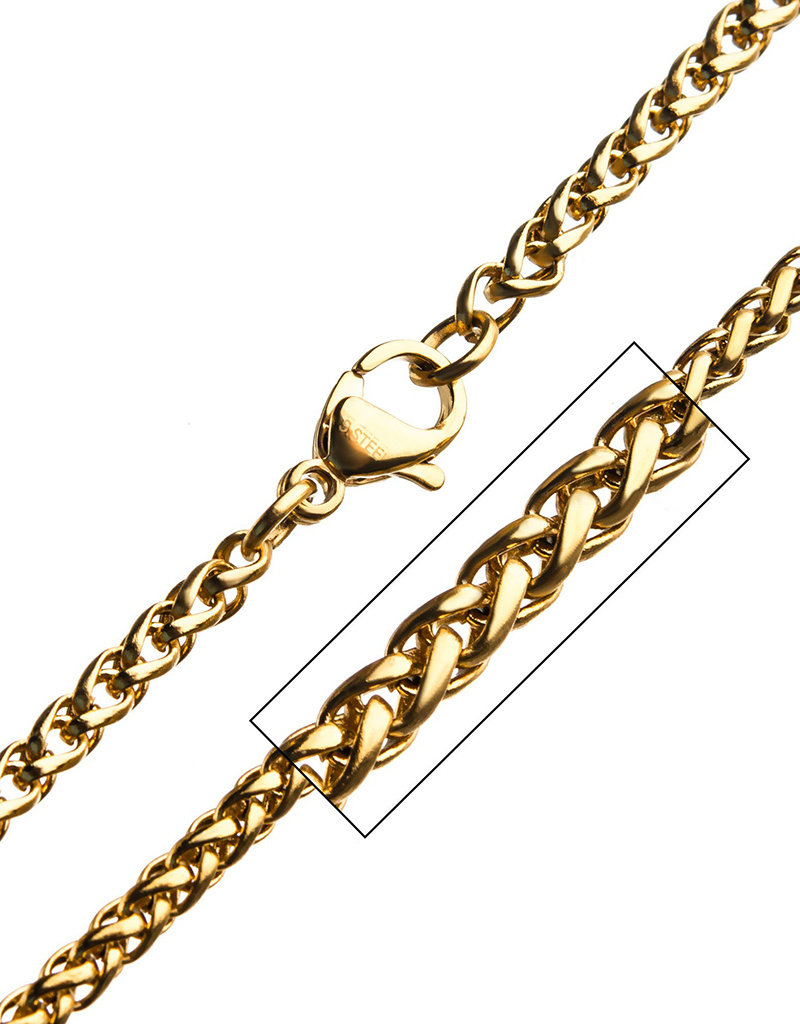 """Men's Stainless Steel Gold IP 2.55mm Wheat Link Chain 24"""""""