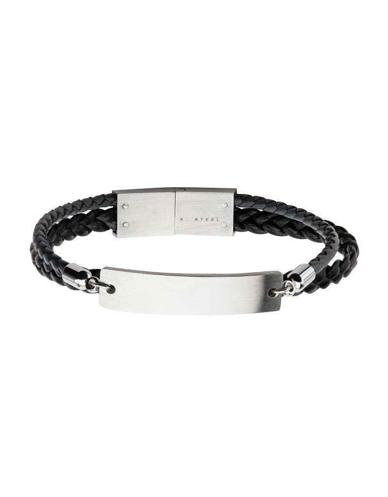 """Men's Multi Strand Black Leather and Stainless Steel ID Bracelet 8.5"""""""
