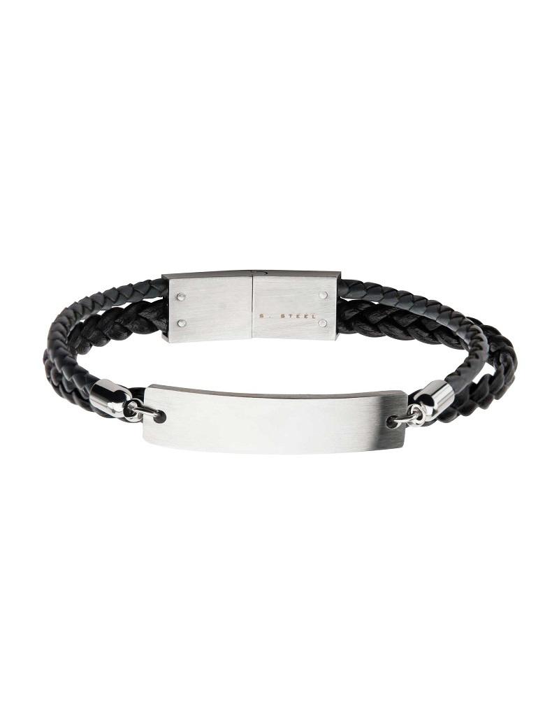"Multi Strand Steel ID Bracelet 8.5"""