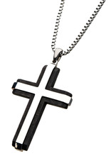 Men's Stainless Steel and Carbon Fiber Two Tone Cross Necklace 24""