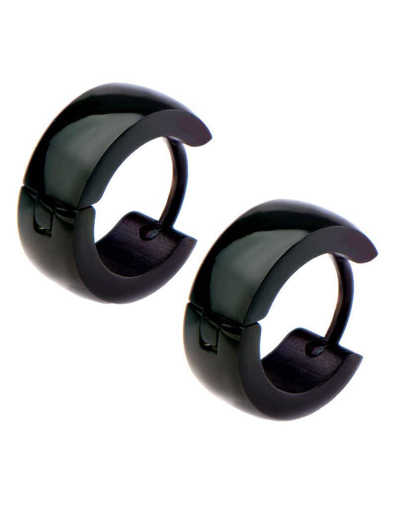 5mm Wide Black Stainless Steel Huggie Earrings 13mm