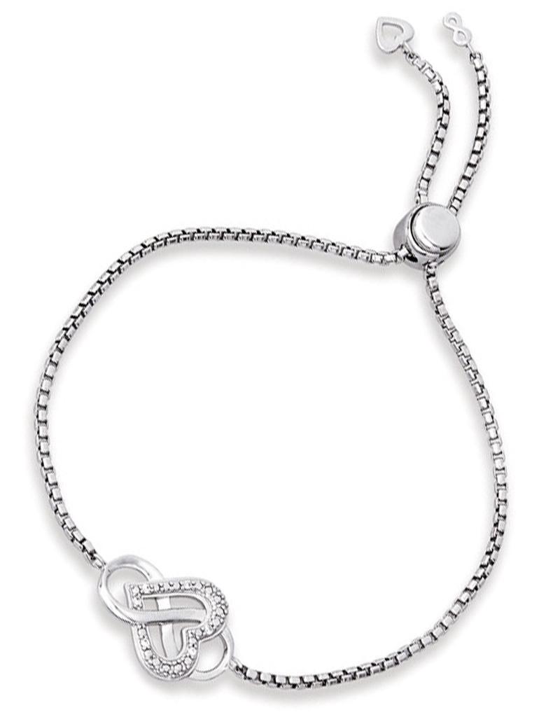 Heart Infinity CZ Bolo Bracelet