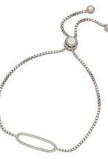 Sterling Silver CZ Oval Bolo Bracelet