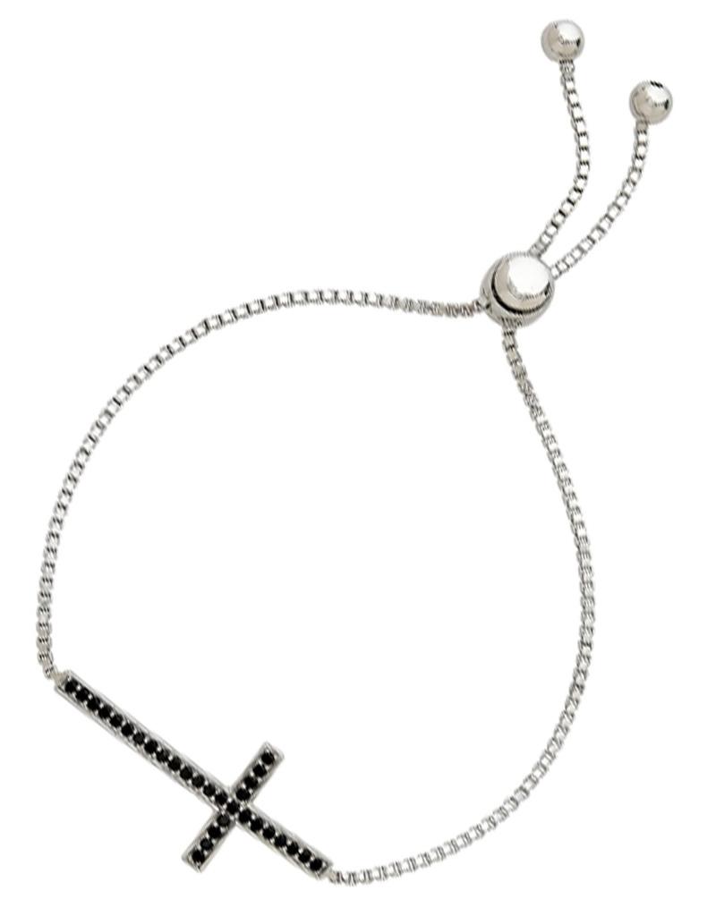 Black CZ Cross Bolo Bracelet