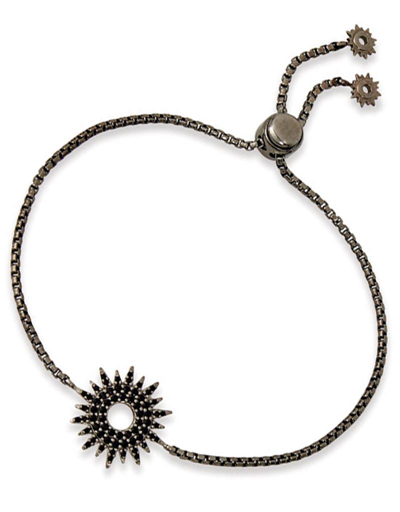 Sun Dial CZ Bolo Bracelet Black