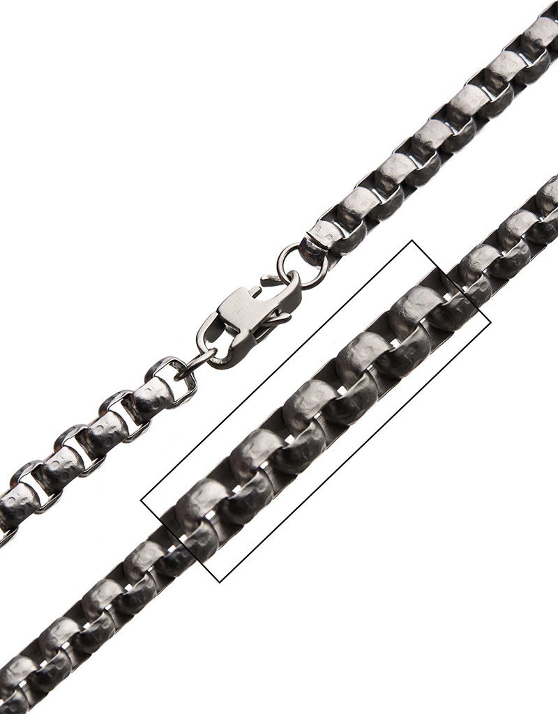Men's Stainless Steel 6.5mm Hammered Box Chain Necklace 22""