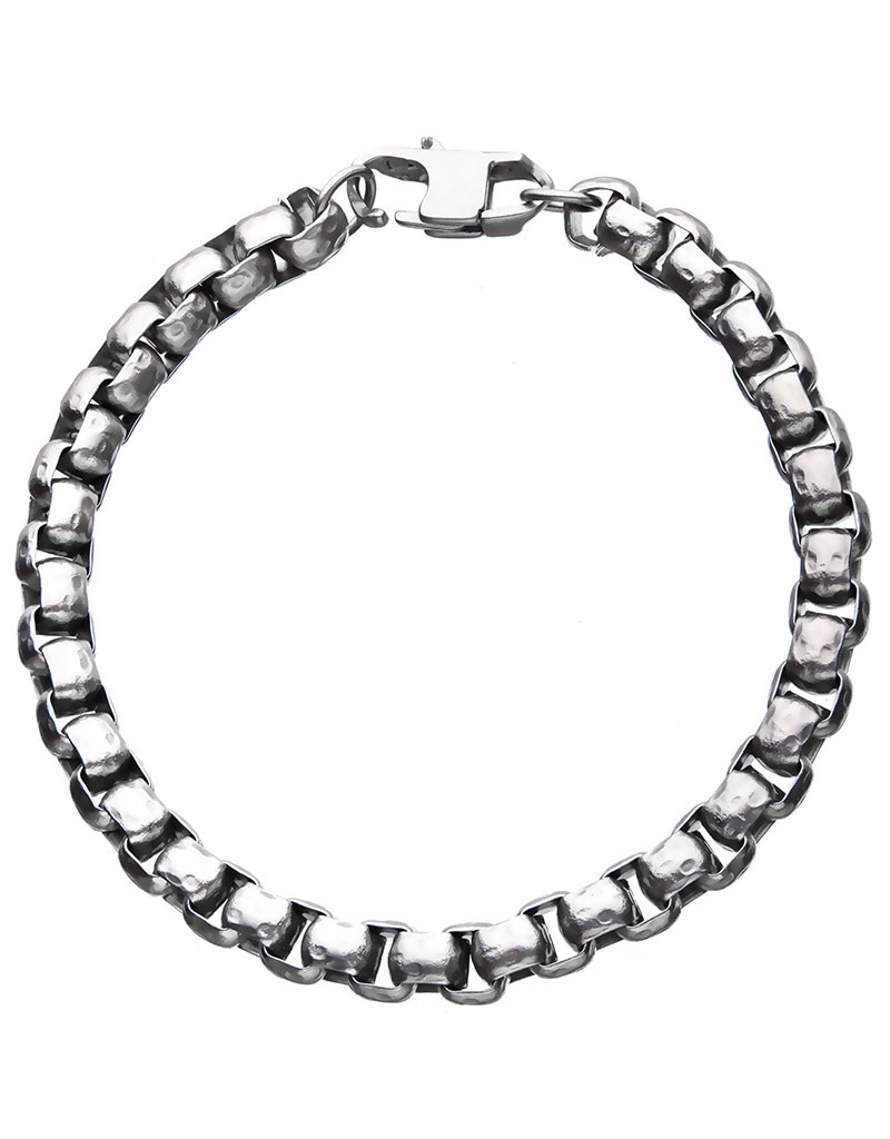 6.5mm Hammered Box Bracelet 8.5""