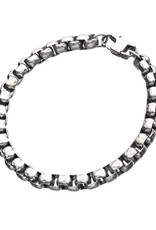 Men's Stainless Steel 6.5mm Hammered Box Chain Bracelet 8.5""