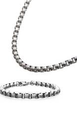 """Men's Stainless Steel 6.5mm Hammered Box Chain Bracelet 8.5"""""""