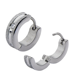 CZ Matte Steel Huggie Earrings