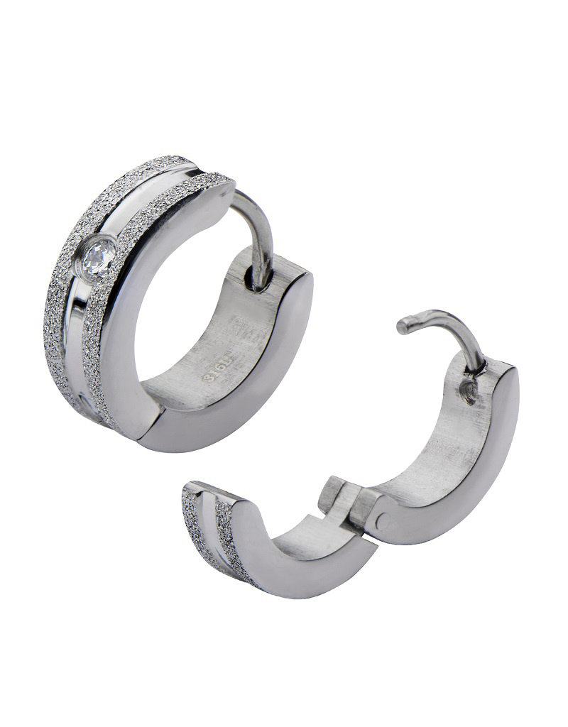 Matte Stainless Steel CZ Huggie Earrings 13mm