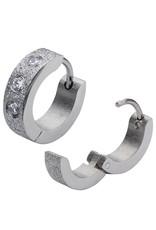 Matte Stainless Steel 3-CZ Huggie Earrings 13mm