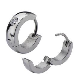 CZ Steel Huggie Earrings 13mm