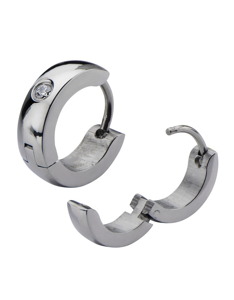 Stainless Steel CZ Huggie Earrings 13mm