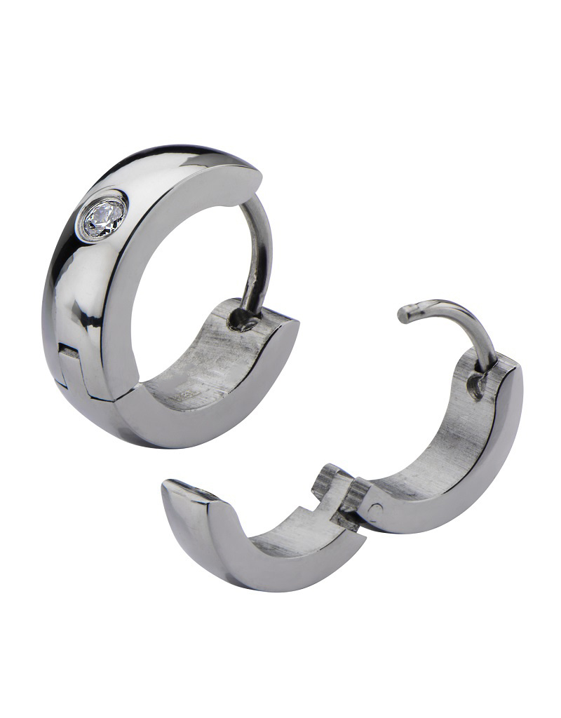 CZ Steel Huggie Earrings 13mm