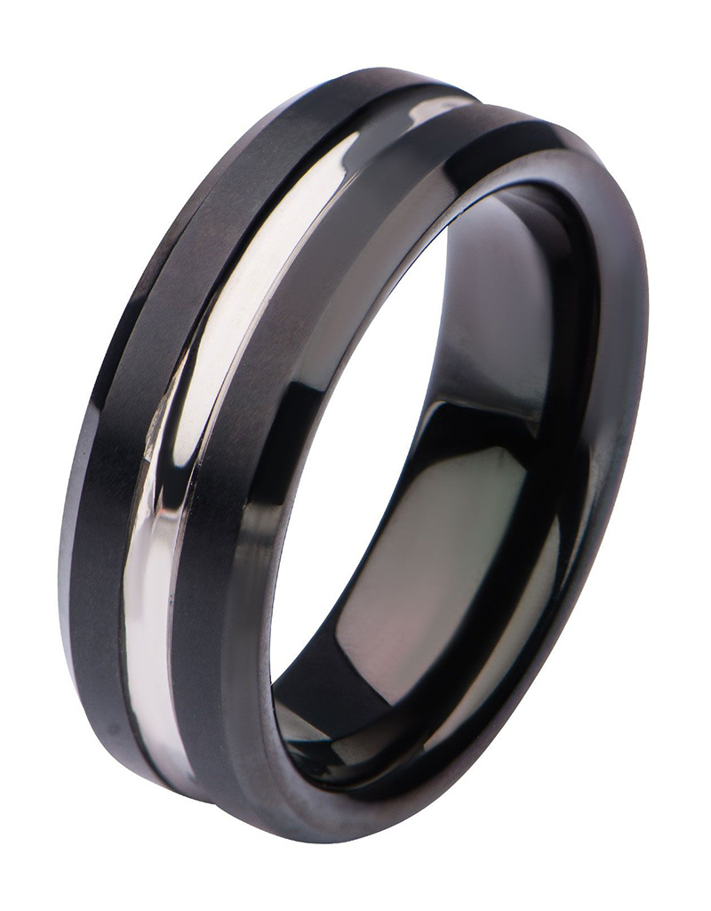 Black Steel Band Ring