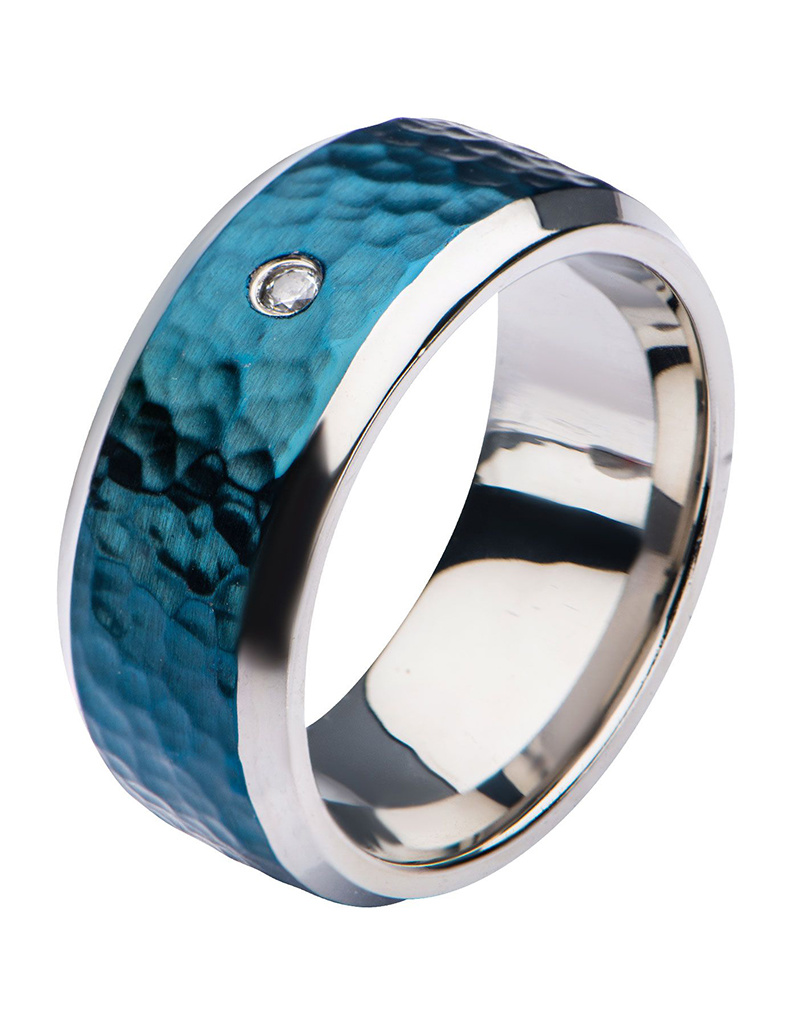Blue Hammered CZ Band Ring