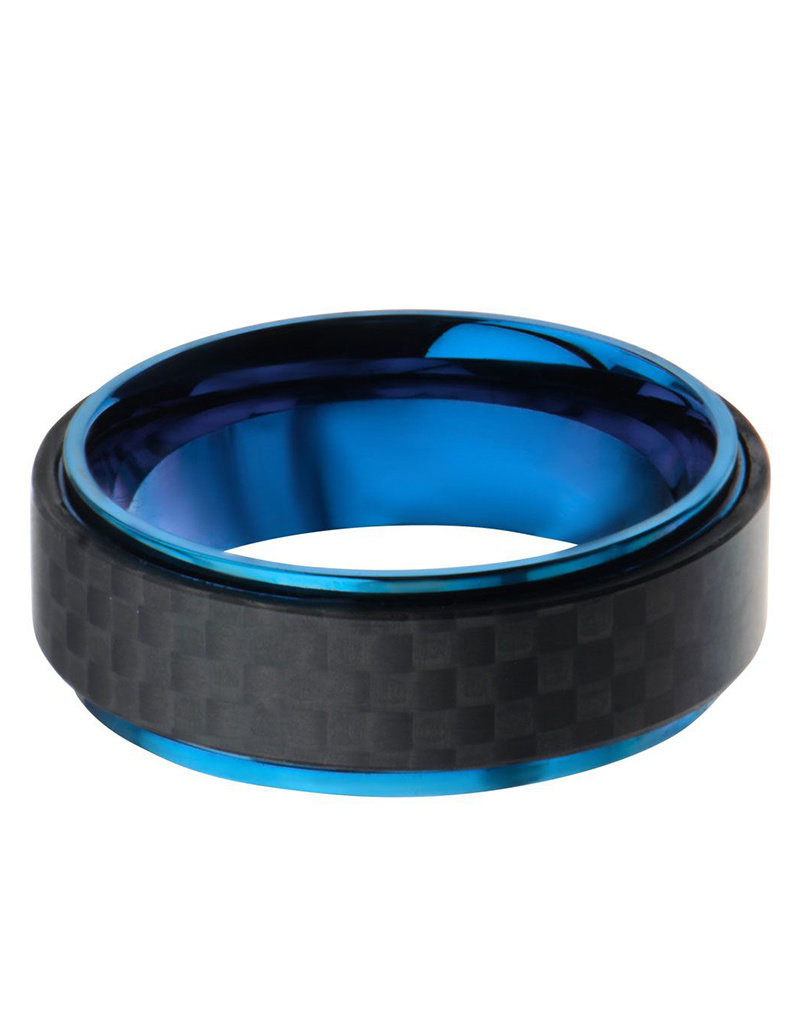 Men's Blue Stainless Steel and Carbon Fiber Band Ring