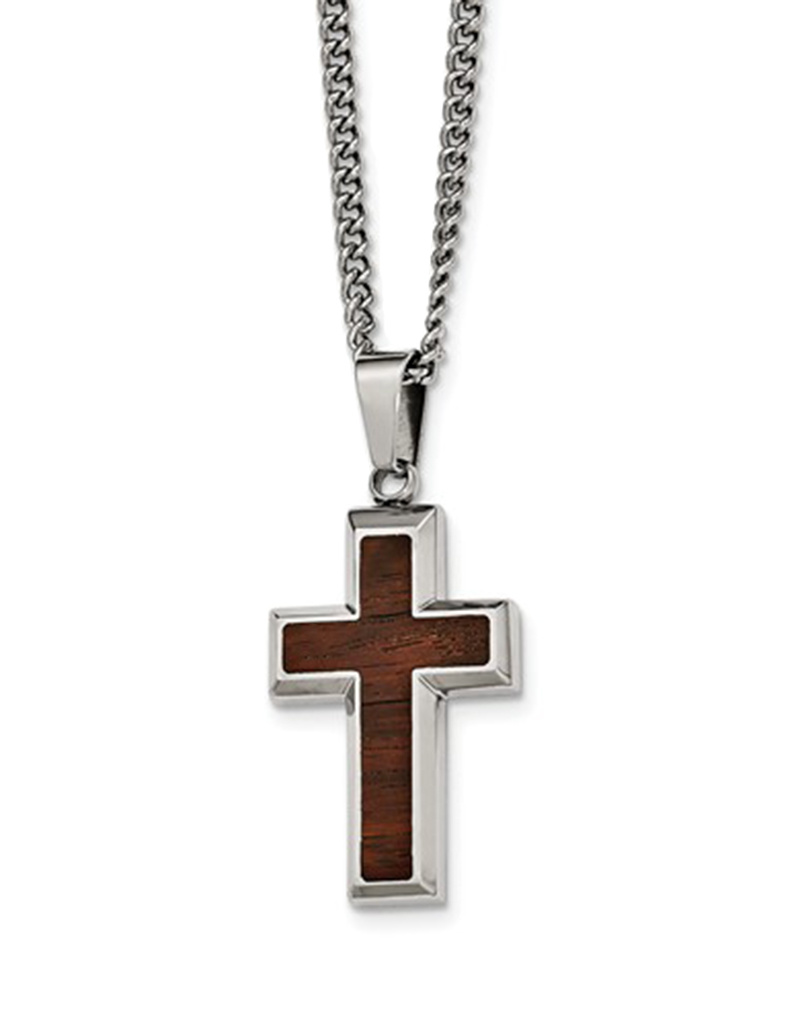 """Steel and Wood Cross Necklace 24"""""""