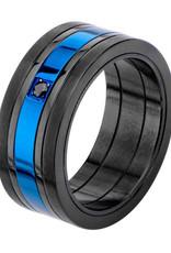 Men's Black & Blue Stainless Steel Black Cubic Zirconia Ring