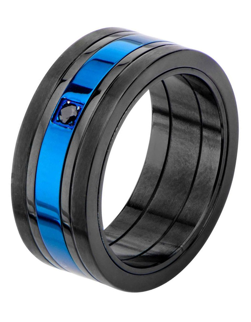 Black & Blue IP Steel CZ Ring