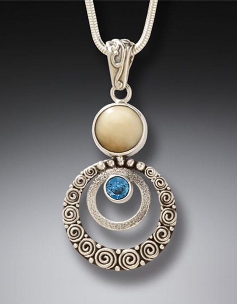 ZEALANDIA Ripples Fossil Ivory and Blue Topaz Pendant