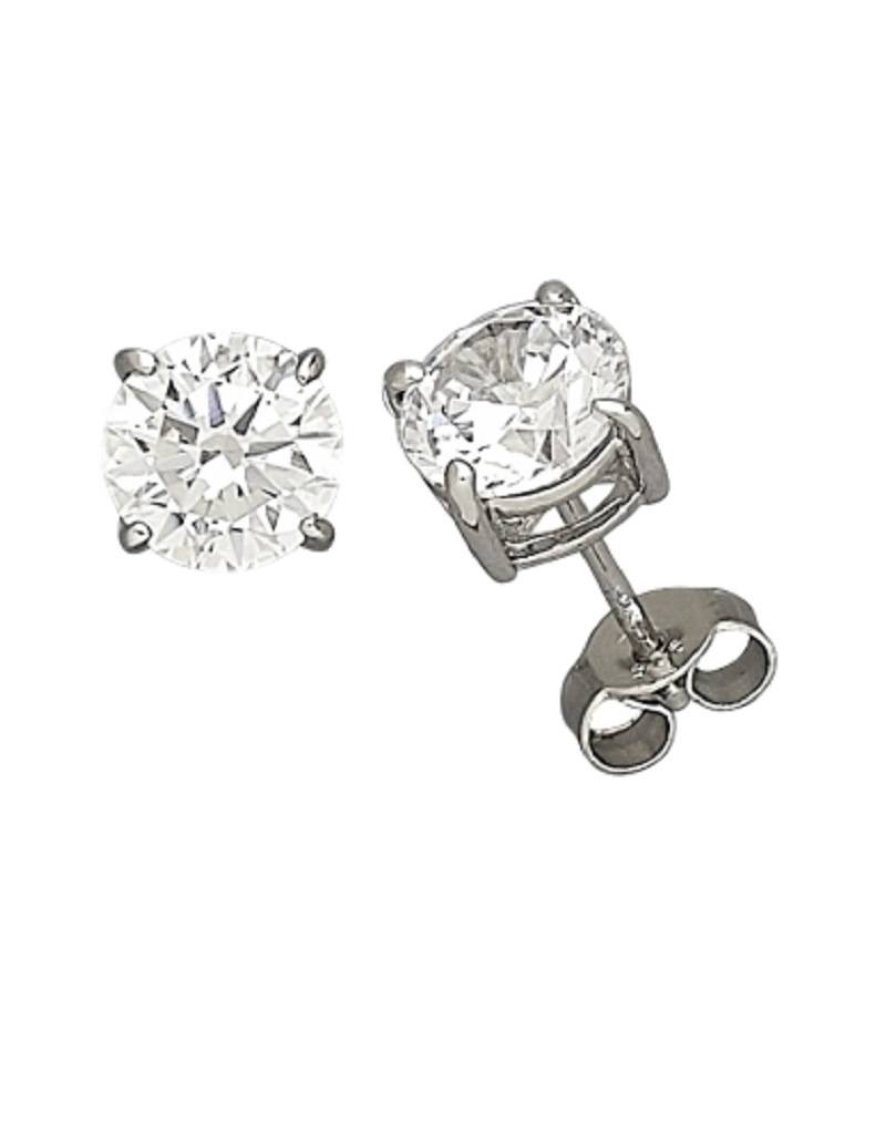 Round CZ Stud Earrings 7mm