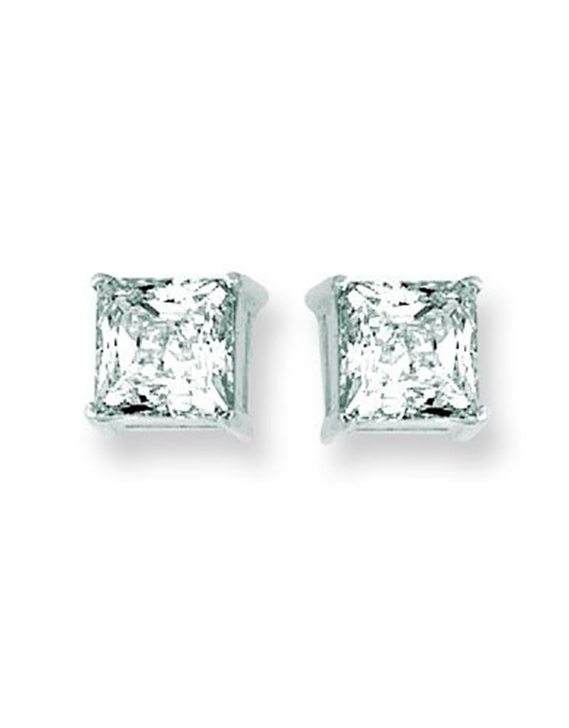 14k White Gold 6mm CZ Stud Earrings