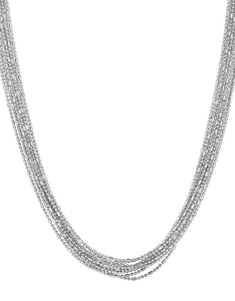 Sterling Silver 12 Strand Diamond Cut Bead Necklace 18""