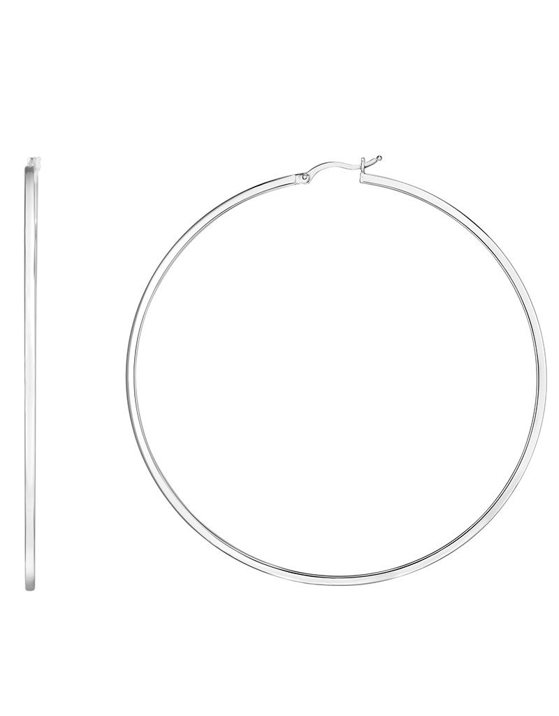 Sterling Silver 78mm Square Tube Hoop Earrings