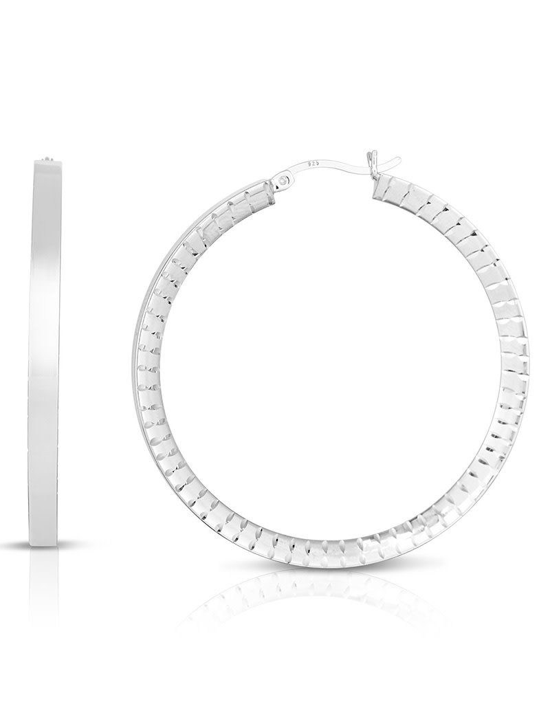 Sterling Silver Diamond Cut Flat Hoop Earrings 46mm
