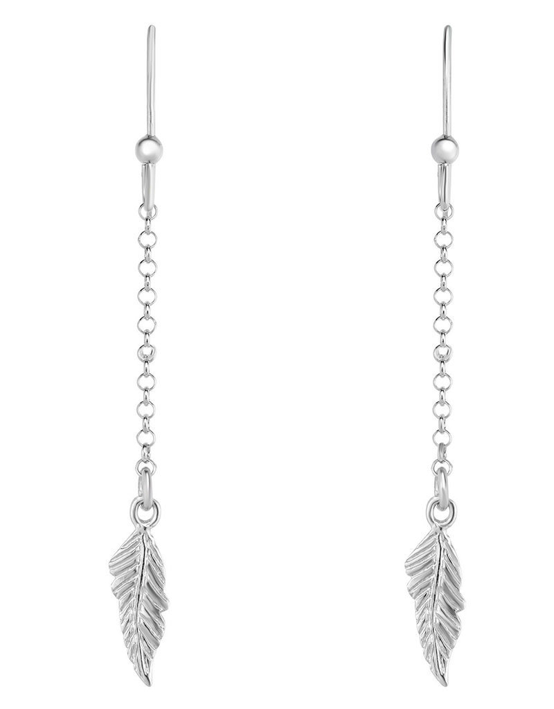 Sterling Silver Feather Drop Chain Earrings 65mm