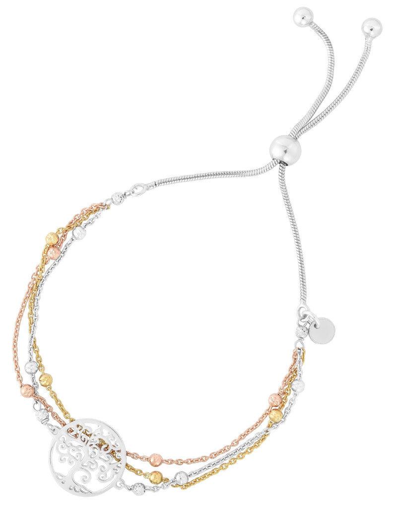Sterling Silver Tri-Color Tree of Life Adjustable Bolo Bracelet