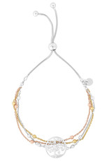 Sterling Silver Tricolor Tree of Life Adjustable Bolo Bracelet