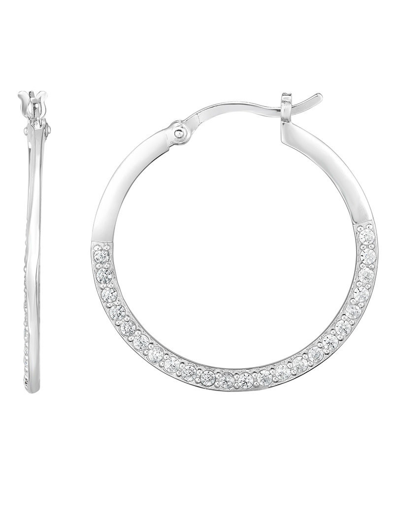 Sterling Silver CZ Hoop Earrings 28mm