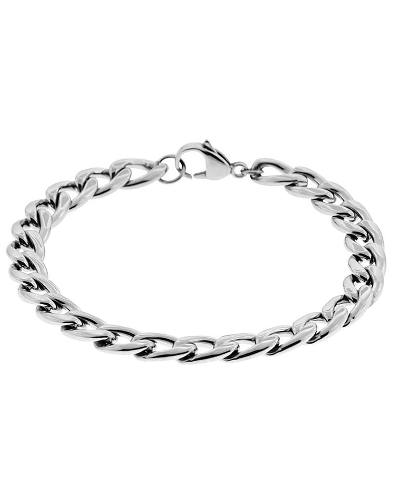 "8mm Steel Curb Bracelet 8.5"""