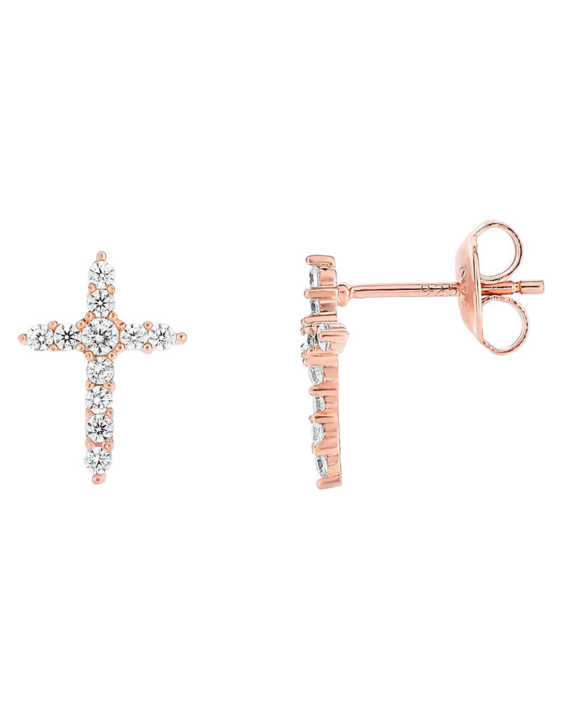CZ Cross Rose Gold Finish Earrings