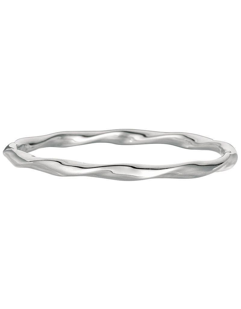Women's Sterling Silver Wavy Slip On Bangle Bracelet