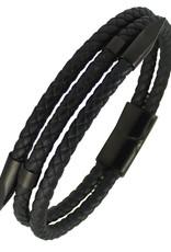 "Men's Stainless Steel Black Nail End Leather Bracelet 8"""