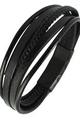 Men's Multi Strand Black Leather Bracelet with Black ID Bar