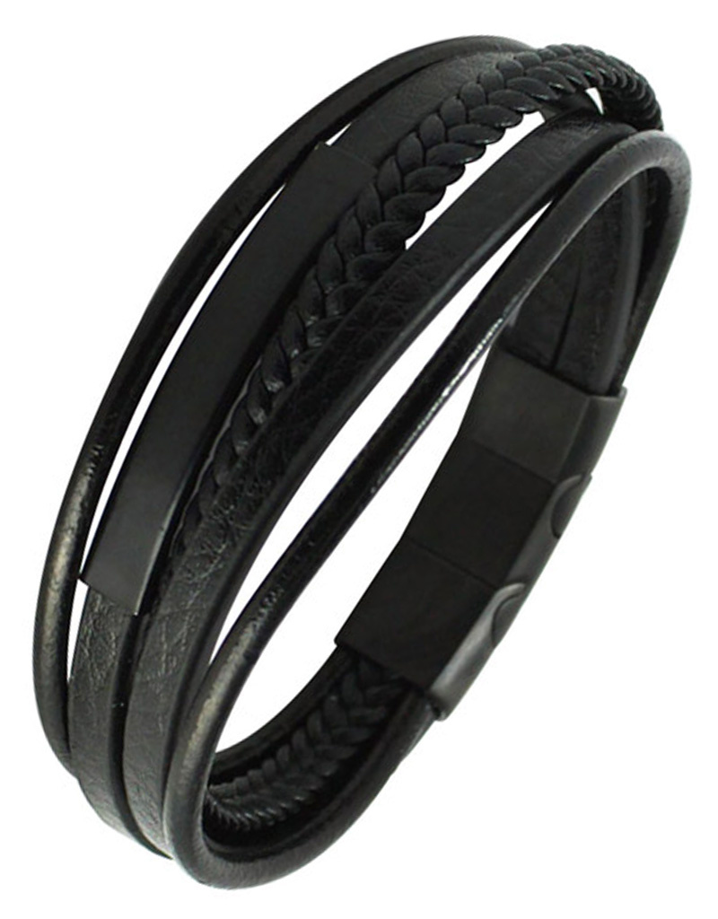 Multi Strand Black Leather ID Bracelet