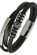 "Men's Multi Strand Black Leather Bracelet with Stainless Steel Bar 9"""