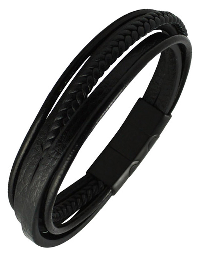 Multi Strand Black Leather Bracelet 9""