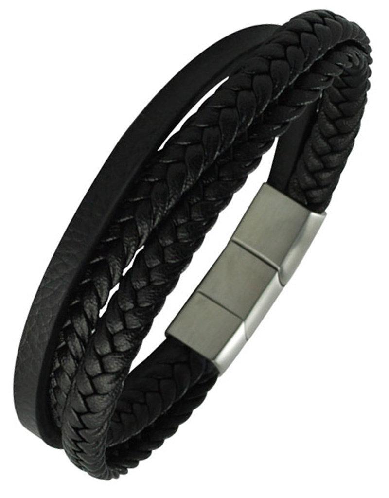 "Men's Multi Strand Black Leather Bracelet 9"""