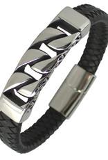 "Men's Black Leather with Steel Curb Chain Design Bar Bracelet 8.5"""