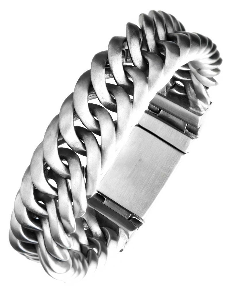 """15mm Matte Double Curb Bracelet 8"""" *inobrbgb33m-8"""